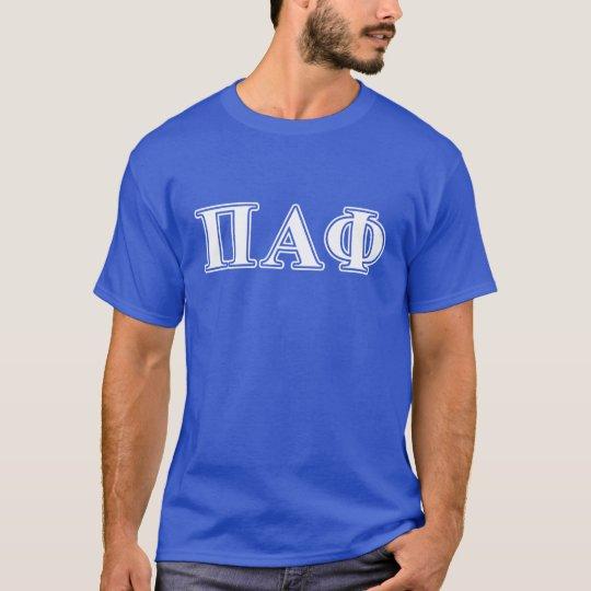 Letras blancas y azules de la phi alfa del pi camiseta
