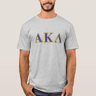 Letras blancas y púrpuras de la lambda alfa de camiseta