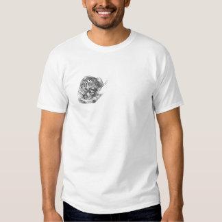 Letras chinas (delanteras) del tigre (traseras) camisetas