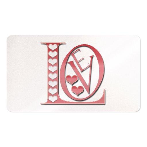 Letras de amor con los corazones plantillas de tarjetas de visita