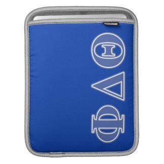 Letras del azul real de la theta del delta de la mangas de iPad