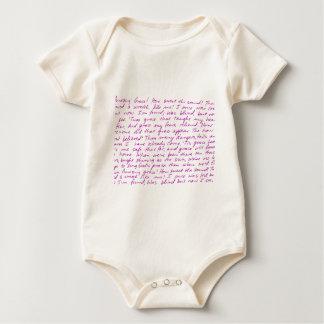 Letras manuscritas de la tolerancia asombrosa body para bebé