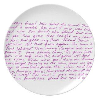 Letras manuscritas de la tolerancia asombrosa platos