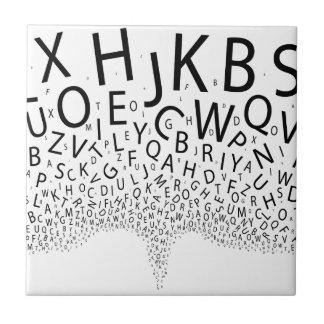 Letras que echan en chorro azulejo