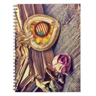Letras y flores de amor libros de apuntes con espiral