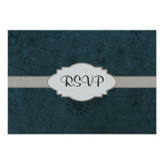 Letrero abstracto floral retro azul profundo invitaciones personalizada