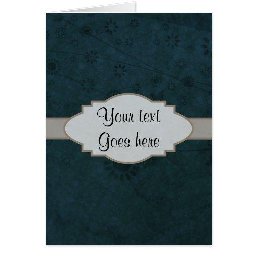 Letrero abstracto floral retro azul profundo felicitacion