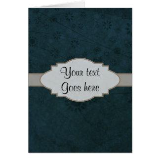 Letrero abstracto floral retro azul profundo tarjeta de felicitación