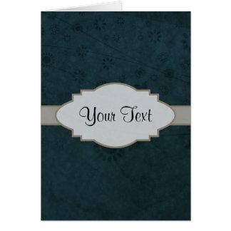 Letrero abstracto floral retro azul profundo tarjeta pequeña