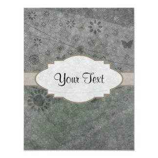 Letrero abstracto floral retro de la lavanda invitación 10,8 x 13,9 cm