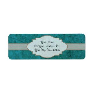 Letrero abstracto floral retro del azul de océano etiquetas de remite