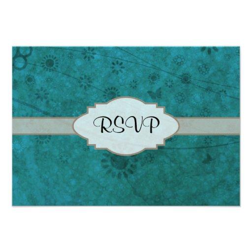 Letrero abstracto floral retro del azul de océano comunicados personalizados