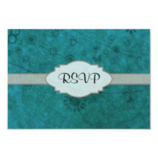Letrero abstracto floral retro del azul de océano invitación 8,9 x 12,7 cm