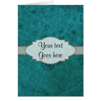 Letrero abstracto floral retro del azul de océano tarjeta de felicitación