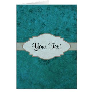 Letrero abstracto floral retro del azul de océano tarjetón