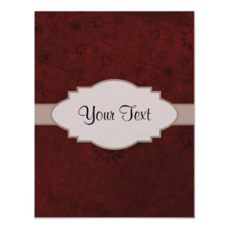 Letrero abstracto floral retro del terciopelo rojo