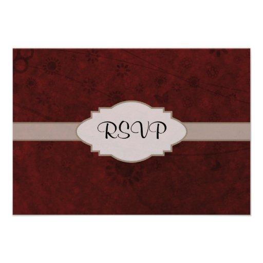 Letrero abstracto floral retro del terciopelo rojo comunicados