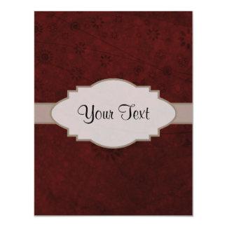 Letrero abstracto floral retro del terciopelo rojo invitación 10,8 x 13,9 cm