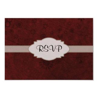 Letrero abstracto floral retro del terciopelo rojo invitación 8,9 x 12,7 cm