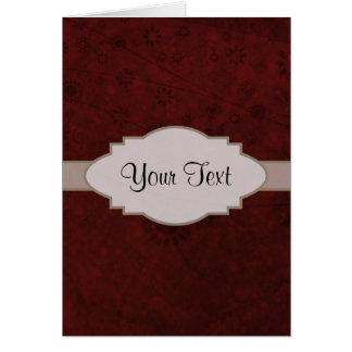 Letrero abstracto floral retro del terciopelo rojo tarjeta pequeña