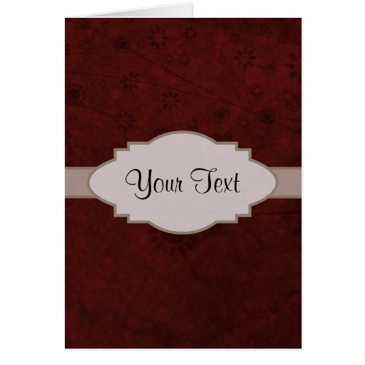 Letrero abstracto floral retro del terciopelo rojo felicitaciones