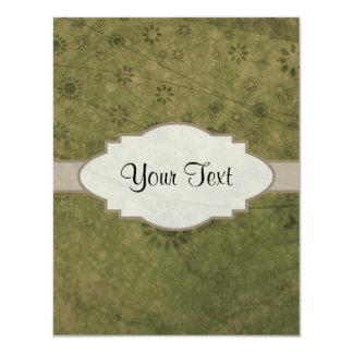 Letrero abstracto floral retro del verde verde invitación 10,8 x 13,9 cm