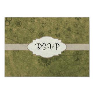 Letrero abstracto floral retro del verde verde invitación 8,9 x 12,7 cm