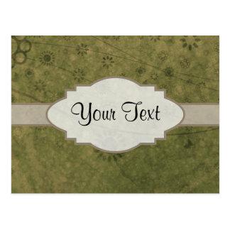 Letrero abstracto floral retro del verde verde oli tarjetas postales