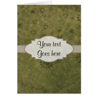Letrero abstracto floral retro del verde verde tarjeta de felicitación