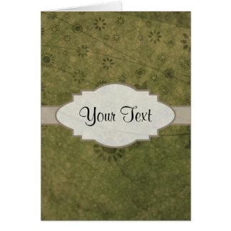Letrero abstracto floral retro del verde verde tarjeta pequeña