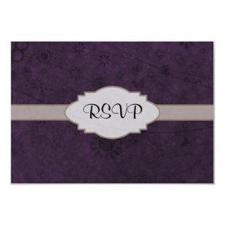 Letrero abstracto floral retro púrpura invitación 8,9 x 12,7 cm