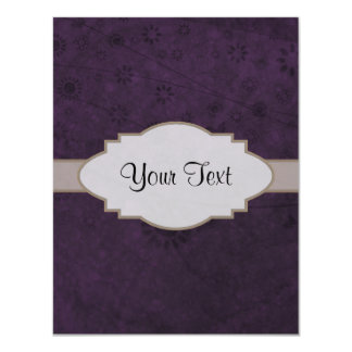 Letrero abstracto floral retro púrpura invitación 10,8 x 13,9 cm