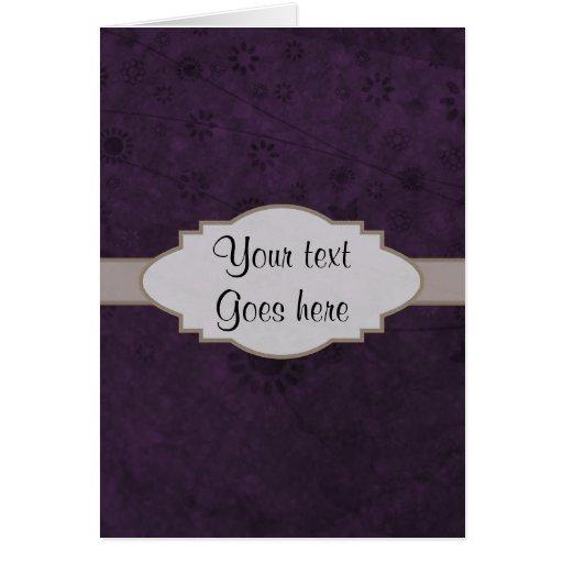 Letrero abstracto floral retro púrpura felicitaciones