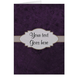 Letrero abstracto floral retro púrpura tarjeta de felicitación