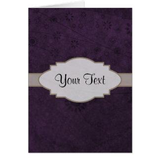 Letrero abstracto floral retro púrpura tarjeta pequeña