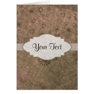 Letrero abstracto floral retro rosado de la sandía tarjetón