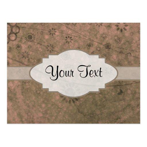 Letrero abstracto floral retro rosado de la sandía tarjeta postal
