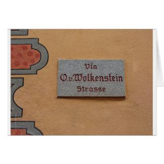 Letrero con el nombre de la calle en Castelrotto ( Tarjeta De Felicitación