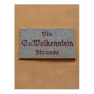 Letrero con el nombre de la calle en Castelrotto ( Tarjetas Postales