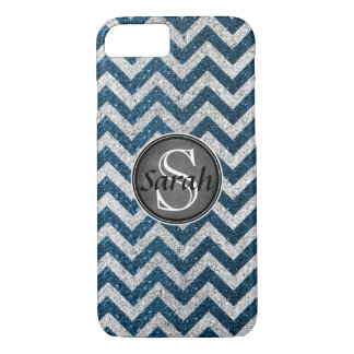 Letrero de Chevron - brillo de Teal&Silver Funda Para iPhone 8/7
