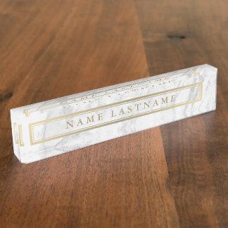Letrero de encargo de mármol gris del escritorio