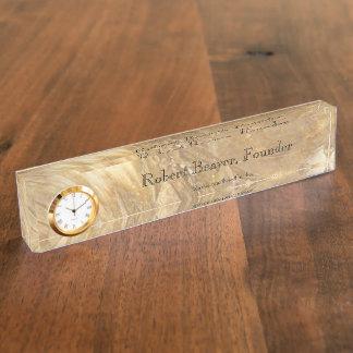 Letrero de mármol del escritorio de la nata con el