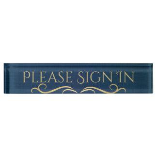 Letrero del mostrador de información del azul y