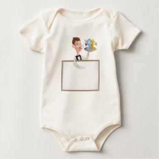 Letrero del restaurante de los pescado frito con body para bebé