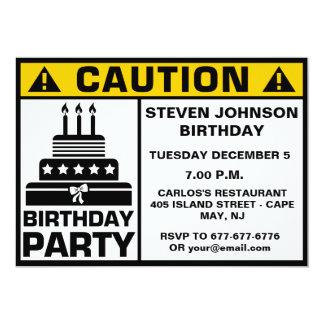 Letrero divertido de la precaución de la fiesta de invitación 12,7 x 17,8 cm