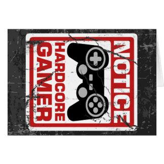Letrero incondicional del aviso del videojugador tarjeta de felicitación