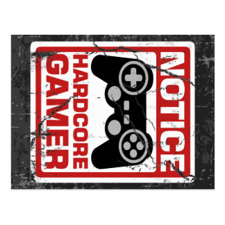 Letrero incondicional del aviso del videojugador tarjetas postales