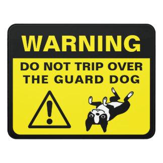 Letrero Para Puerta Advertencia chistosa del perro guardián de Boston