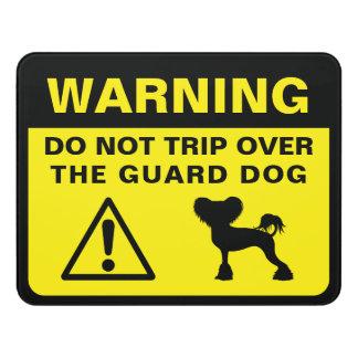 Letrero Para Puerta Advertencia con cresta china del perro guardián de