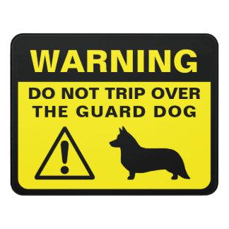 Letrero Para Puerta Advertencia del perro guardián de la silueta del